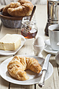 Breakfast with croissant, egg, coffee, honey and butter - SBDF001608