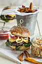 Homemade cheeseburger, coleslaw and french fries - SBDF001623