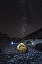Nepal, Khumbu, Everest region, the milky way and tent from high camp on Pokalde peak at night - ALRF000058