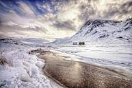 United Kingdom, Scotland, Glencoe, Solitude, house at river in winter - SMAF000295