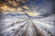 United Kingdom, Scotland, Glencoe, Glen Etive, road in winter - SMAF000292