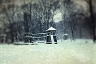 Germany, Wuppertal, Winter forest with playground - DWIF000427