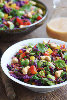 Asian slaw salad with red cabbage, kale, fava beans, cashew and cilantro - HAWF000629