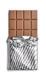 Chocolate bar on white background - RAMF000038