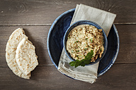 Bowl of Baba Ghanoush with flat bread - EVGF001106