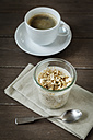 Cup of coffee and glass of vegan cocos pudding with banana and tapioca granules - EVGF001111