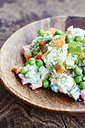 Potato salad with potatoes, carrots, peas, onions, soy yogurt, pickles and dill - HAWF000638