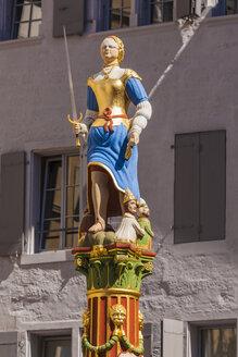 Switzerland, Lausanne, Lady Justice statue - WDF002900