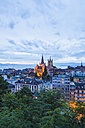 Switzerland, Lausanne, cityscape with cathedral Notre-Dame at dusk - WDF002903