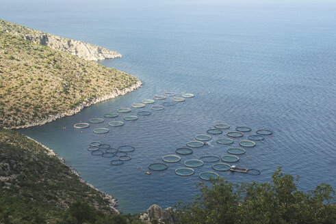 Greece, Peloponnese, view to fish farm from above - DEG000195