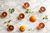 Blood orange and mint leaves on marble - SARF001352