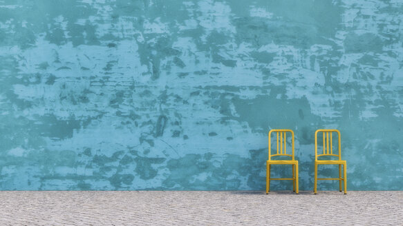 Two yellow chairs standing in front of blue concrete wall, 3D Rendering - UWF000382