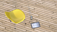 Yellow chair, water bottle and digital tablet on wooden terrace, 3D Rendering - UWF000386