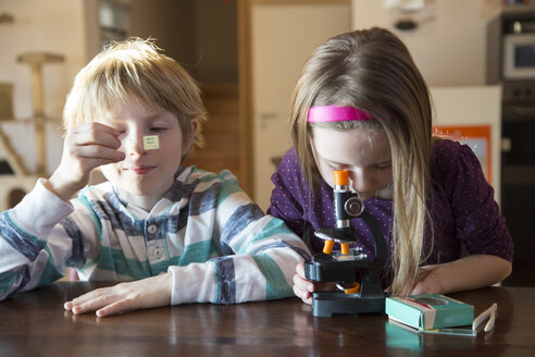 Brother and sister with microscope at home - SARF001356