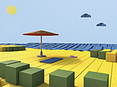 Beach scene built of toy blocks, 3D Rendering - UWF000370