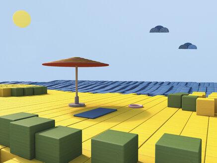 Beach scene built of toy blocks, 3D Rendering - UWF000370