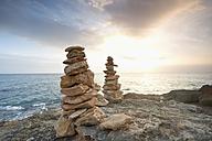 Spain, Mallorca, Ses Salines, Cap de ses Salines, piles of stones - MEMF000713