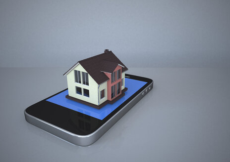 House with smartphone, 3d rendering - ALF000301