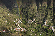 Spain, Canary Islands, La Gomera, Valle Gran Rey, View from Mirador Cesar Manrique, rainbow over village - SIEF006479