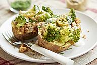 Baked potato with broccoli, soy yogurt and vegan parmesan cheese - HAWF000660