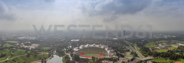 Germany, Munich, panoramic aerial view of the Olympic stadium - NK000230 - Stefan Kunert/Westend61