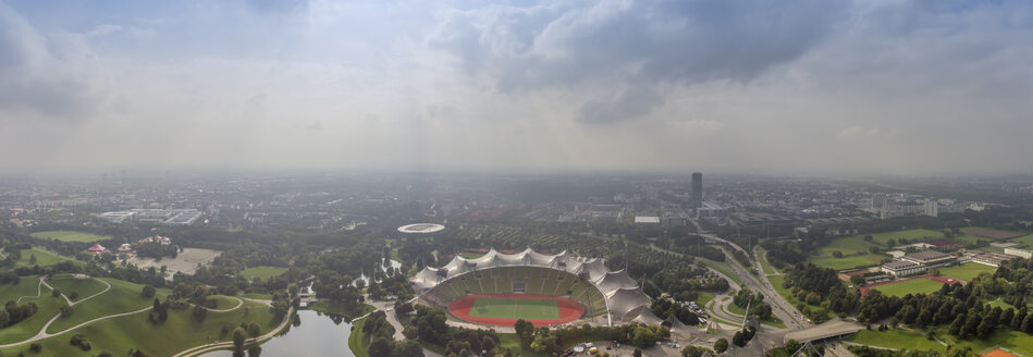Germany, Munich, panoramic aerial view of the Olympic stadium - NK000230