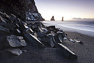 Iceland, Sudurland, Myrdalur, Vik i Myrdal, rock needles Reynisdrangar - FPF000043