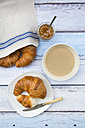 French breakfast with croissant, Cafe au lait and fig jam - LVF002904