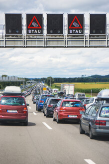 Germany, Bavaria, Traffic jam on A9 highway between Munich and Nuremberg - WEF000328