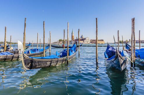 Italy, Venice, gondolas at a pier - THAF001265