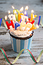Birthday muffin with chocolate buttons and lighted candles - SARF001424