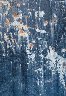 Abstract texture of blue painted damaged metal wall - RAEF000051