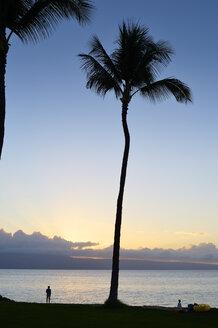 USA, Hawaii, Maui, Kaanapali, sunset at Kahekili Beach Park and Island Lanai in background - BRF000987