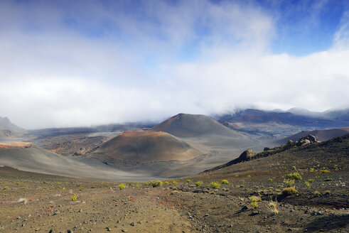 USA, Hawaii, Maui, Haleakala, volcanic landscape with clouds and cinder cones - BRF001082
