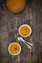 Cooking pot and bowls of carrot soup - LVF002918