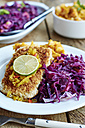 Braised red cabbage fennel and apple,  sweet potato parsnip mash with Tempeh fillets - HAWF000683