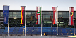 Germany, North Rhine-Westphalia, Dortmund Airport, Flags, Panorama - WI001507