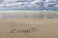 Cuba, Varadero, word 'Cuba' carved in wet sand - EJWF000678