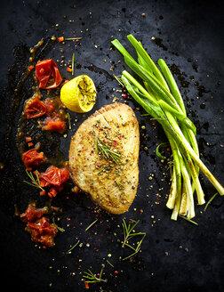 Foodart, tuna with spring onion, tomato, lemon, chili flakes, rosemary and herbs - KSWF001423