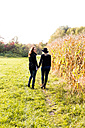 Lesbian couple walking hand in hand on a meadow - DAWF000297