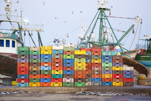 Morocco, Essaouira, fish boxes at the harbor - STD000115