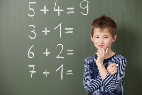 Schoolboy at blackboard with arithmetic problems - MFRF000067