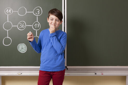 Schoolboy at blackboard with arithmetic problem - MFRF000082