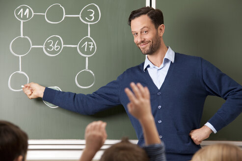 Smiling teacher at blackboard with arithmetic problem - MFRF000150
