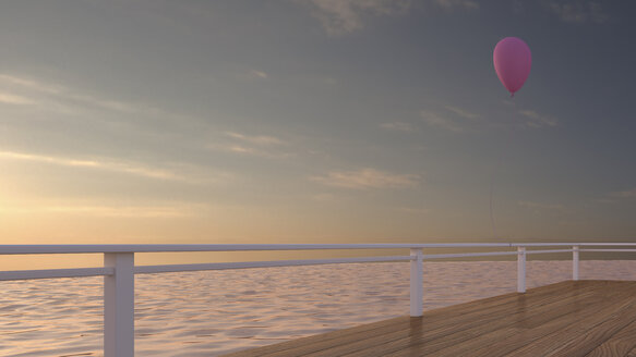 Balloon attached to railing of a terrace, 3D rendering - UWF000388
