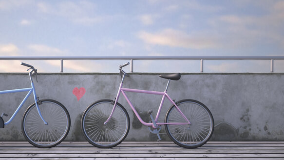 Two bicycles leaning against wall with painted heart, 3D rendering - UWF000391