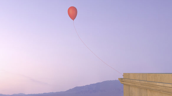 Balloon attached to house wall in the sky, 3D rendering - UWF000394
