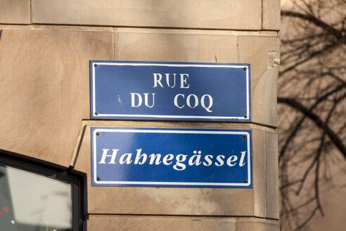 France, Strasbourg, La Petite France, road sign on facade - JUNF000251