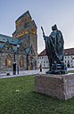 Germany, Hildesheim, cathedral with Bernward Monument at dusk - PVC000278