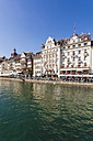 Switzerland, Luzern, row of houses and outdoor gastronomy at riverside of Reuss - WD002975
